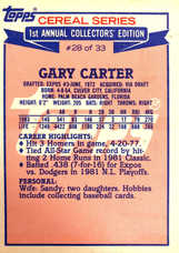 1984 Topps Cereal #28 Gary Carter