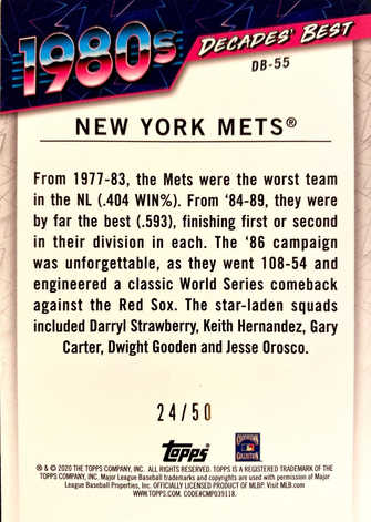 2020 Topps Decades' Best Series 2 Gold #DB55 New York Mets/50