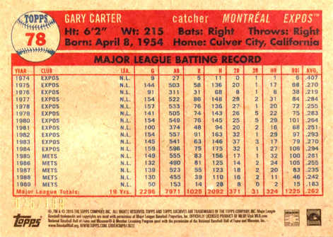 2015 Topps Archives Silver #78 Gary Carter/199
