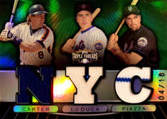 2007 Topps Triple Threads Relics Combos Emerald #81 Gary Carter/Paul LoDuca/Mike Piazza/18