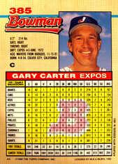 1992 Bowman #385 Gary Carter