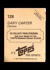 1982 Topps Stickers #128 Gary Carter FOIL