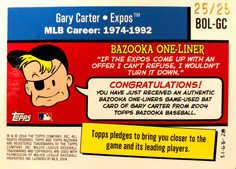 2004 Bazooka One-Liners Relics Parallel 25 #GC Gary Carter Bat/25