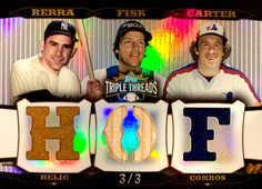 2006 Topps Triple Threads Relic Combos Platinum #139 Yogi Berra/Carlton Fisk/Gary Carter/3