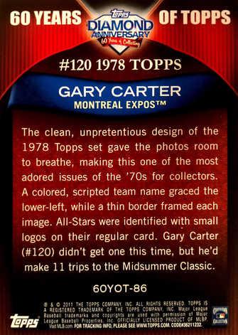 2011 Topps 60 Years of Topps #86 Gary Carter