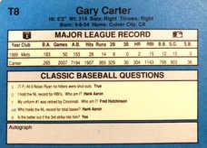 1990 Classic Yellow #T8 Gary Carter