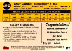 2008 Topps 50th Anniversary All Rookie Team Relics #GC Gary Carter/50