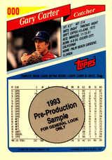 1993 Topps Pre-Production Sheet #3 Gary Carter