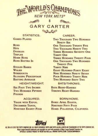 2013 Topps Allen and Ginter #8 Gary Carter