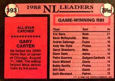 1989 Topps #393 Gary Carter AS