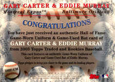2003 Topps Traded Hall of Fame Dual Relic #CM Carter/Murray