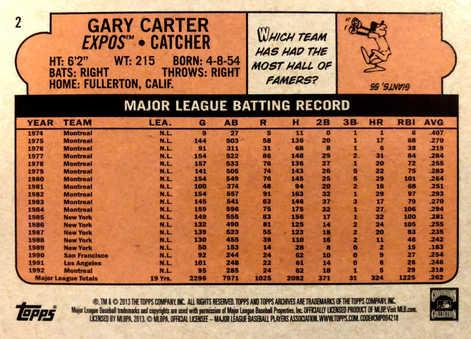 2013 Topps Archives Gold #2 Gary Carter/199