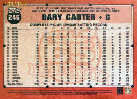 2016 Topps Archives Blue #246 Gary Carter/199