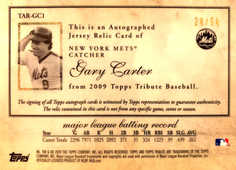 2009 Topps Tribute Autograph Relics Black #GC1 Gary Carter/50