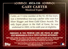 2009 Topps Sterling Career Chronicles Relic Quad Autographs #116 Gary Carter/10