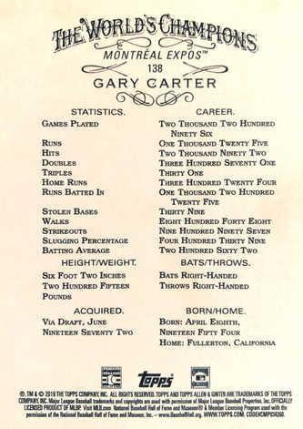 2019 Topps Allen and Ginter Silver #138 Gary Carter