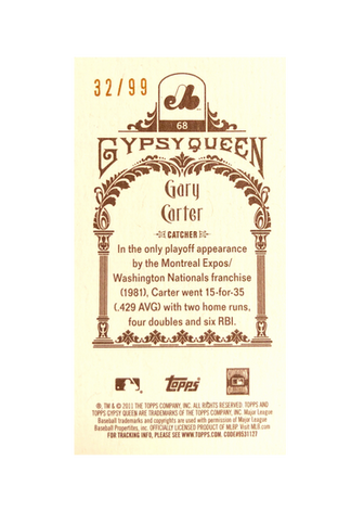 2011 Topps Gypsy Queen Mini Sepia #68 Gary Carter/99