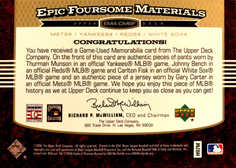 2006 Upper Deck Epic Foursome Fabrics #CMBF Gary Carter/Thurman Munson/Johnny Bench/Carlton Fisk/25