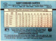 1988 Mets Donruss Team Book #199 Gary Carter