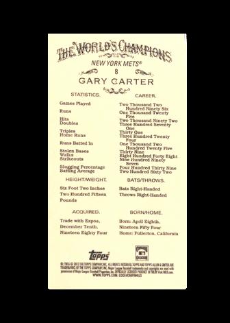 2013 Topps Allen and Ginter Mini Black #8 Gary Carter