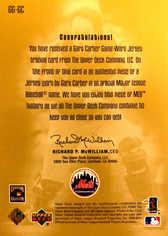 2001 Upper Deck Gold Glove Game Jersey Gold #GGGC Gary Carter/25