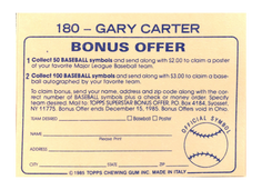 1985 Topps Stickers #180 Gary Carter FOIL