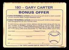 1985 Topps Stickers #180 Gary Carter FOIL