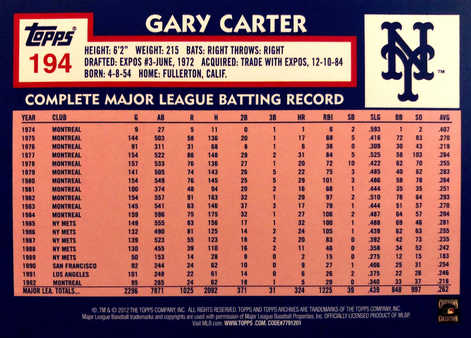2012 Topps Archives Gold Foil #194 Gary Carter