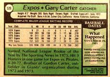 1979 Topps #520 Gary Carter