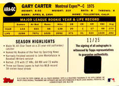 2008 Topps 50th Anniversary All Rookie Team Autographs #GC Gary Carter/25