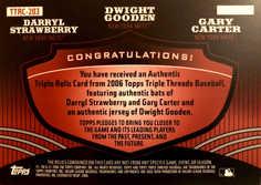 2006 Topps Triple Threads Relic Combos #203 Darryl Strawberry/Dwight Gooden/Gary Carter/18