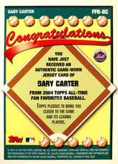 2004 Topps All-Time Fan Favorites Relics #GC Gary Carter Jsy