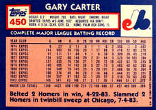 1984 Topps Tiffany #450 Gary Carter