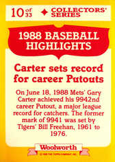 1989 Woolworth's Topps #10 Gary Carter
