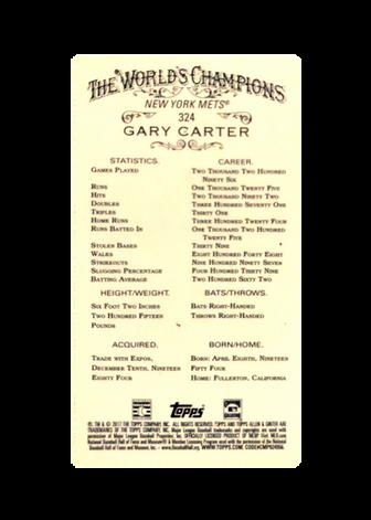 2017 Topps Allen and Ginter Mini Black Border #324 Gary Carter