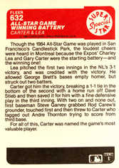 1985 Fleer #632 A-S Winning Battery/Gary Carter/Charlie Lea