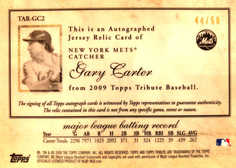 2009 Topps Tribute Autograph Relics Black #GC2 Gary Carter/50