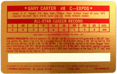 1982 Perma-Graphic Credit Cards Gold #4 Gary Carter