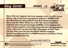 2006 St. Lucie Mets Grandstand #1 Gary Carter MG