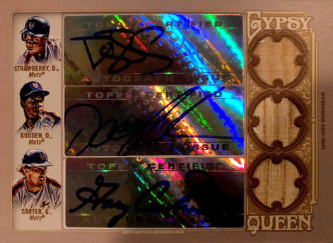 2012 Topps Gypsy Queen Triple Relic Autographs #SGC Darryl Strawberry/Doc Gooden/Gary Carter/10