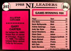 1989 Topps Tiffany #393 Gary Carter AS