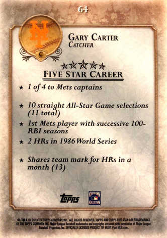 2013 Topps Five Star #64 Gary Carter