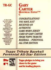 2003 Topps Tribute Perennial All-Star Relics #GC Gary Carter Jsy