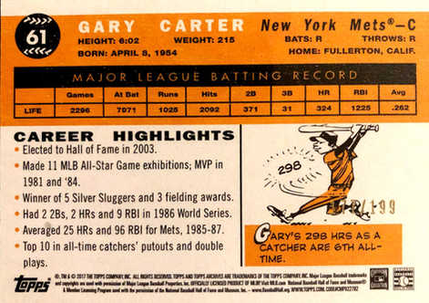 2017 Topps Archives Peach #61 Gary Carter/199