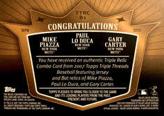 2007 Topps Triple Threads Relics Combos Sepia #81 Gary Carter/Paul LoDuca/Mike Piazza/27