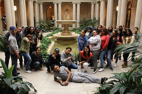 Student group photo at museum