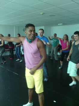 Salsa class - Clare's festival in Wales