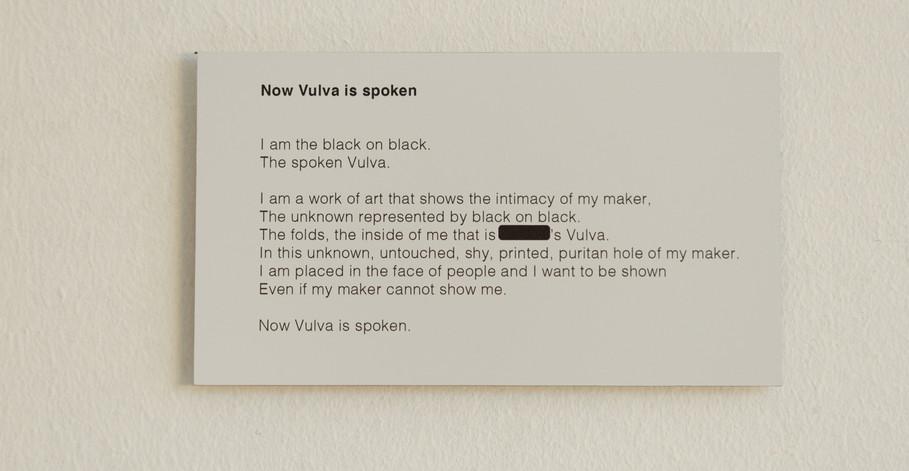 Now Vulva is Spoken, (2021)