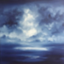 Original painting,contemporary painting, oil on canvas, Semi Abstract painting, landscape, seascape, atmospheric painting, dramatic sky, clouds, light and dark, monochromatic painting, blue and white paiting, fine art for sell, beautiful painting,  relaxing painting,