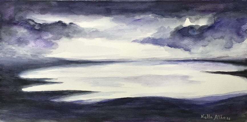 The Storm in Loch, watercolour, fine art, painting, original, dramatic, atmospheric, seascape, landscape, Highlands, purple, loch painting, lake, watercolour, unique, cloudy, stormy, sky, purple sky, free, movement, art gallery, best paintings, amazing colours, best, watercolours,